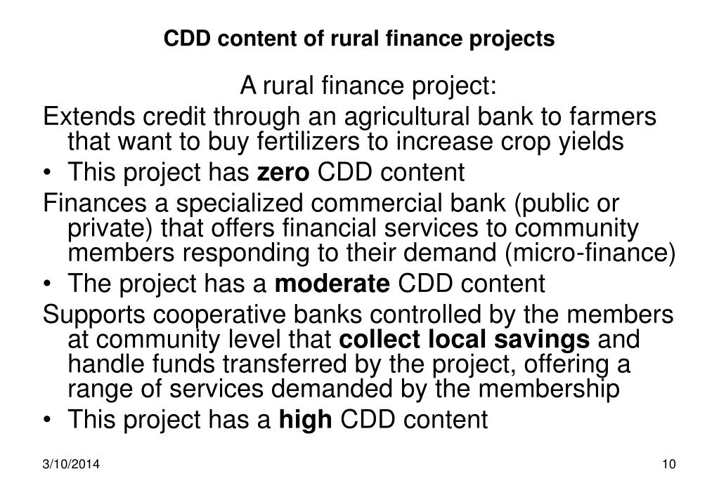 CDD content of rural finance projects