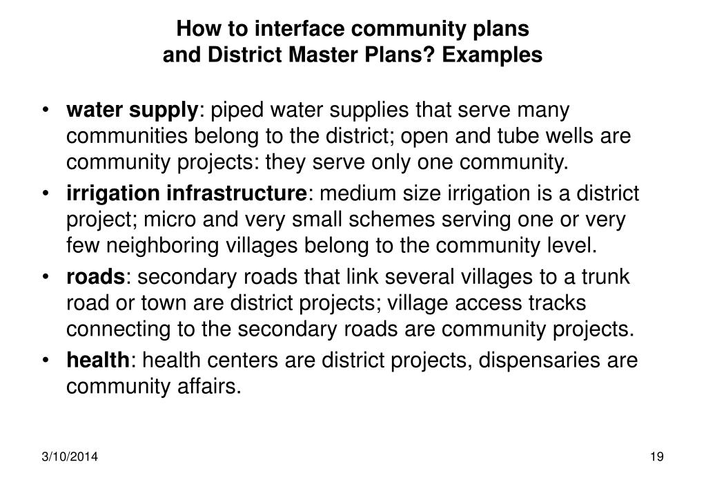 How to interface community plans