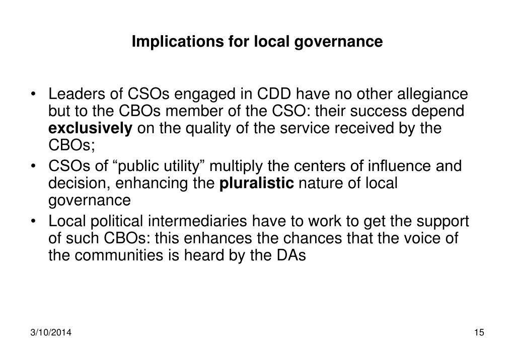 Implications for local governance