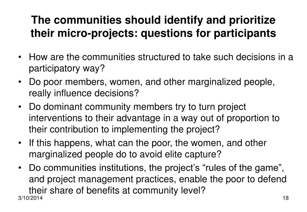 The communities should identify and prioritize their micro-projects: questions for participants