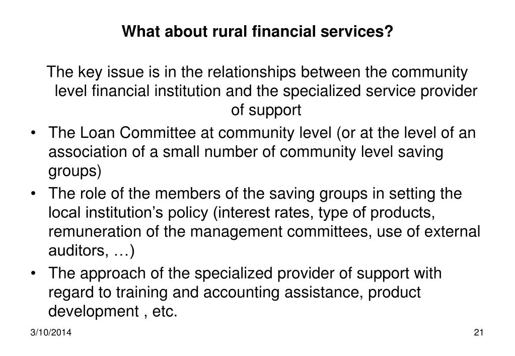 What about rural financial services?