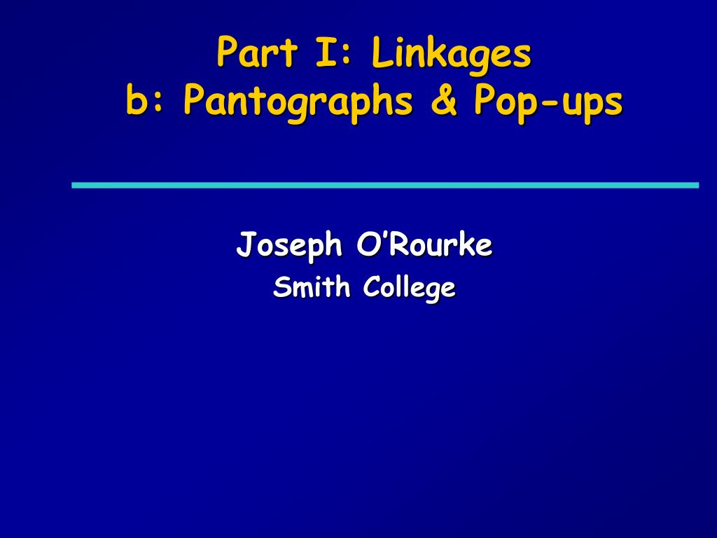 Part I: Linkages