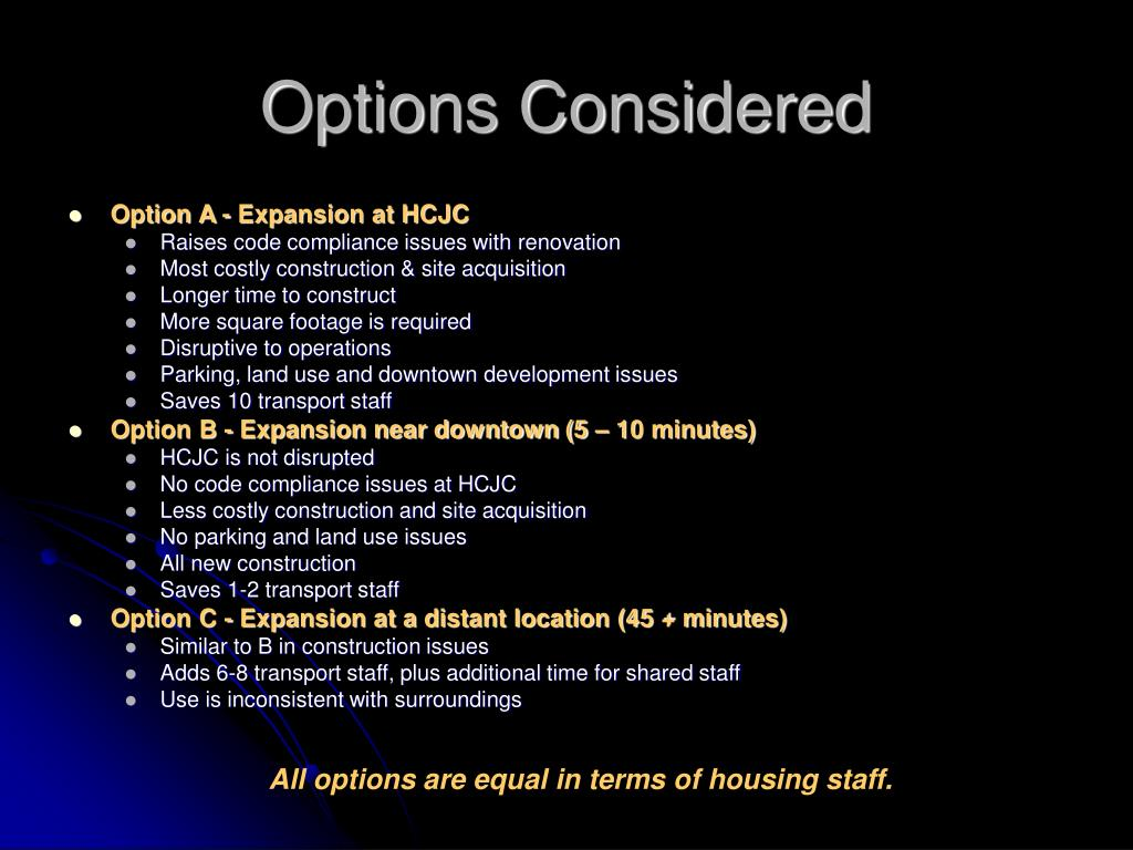 Options Considered
