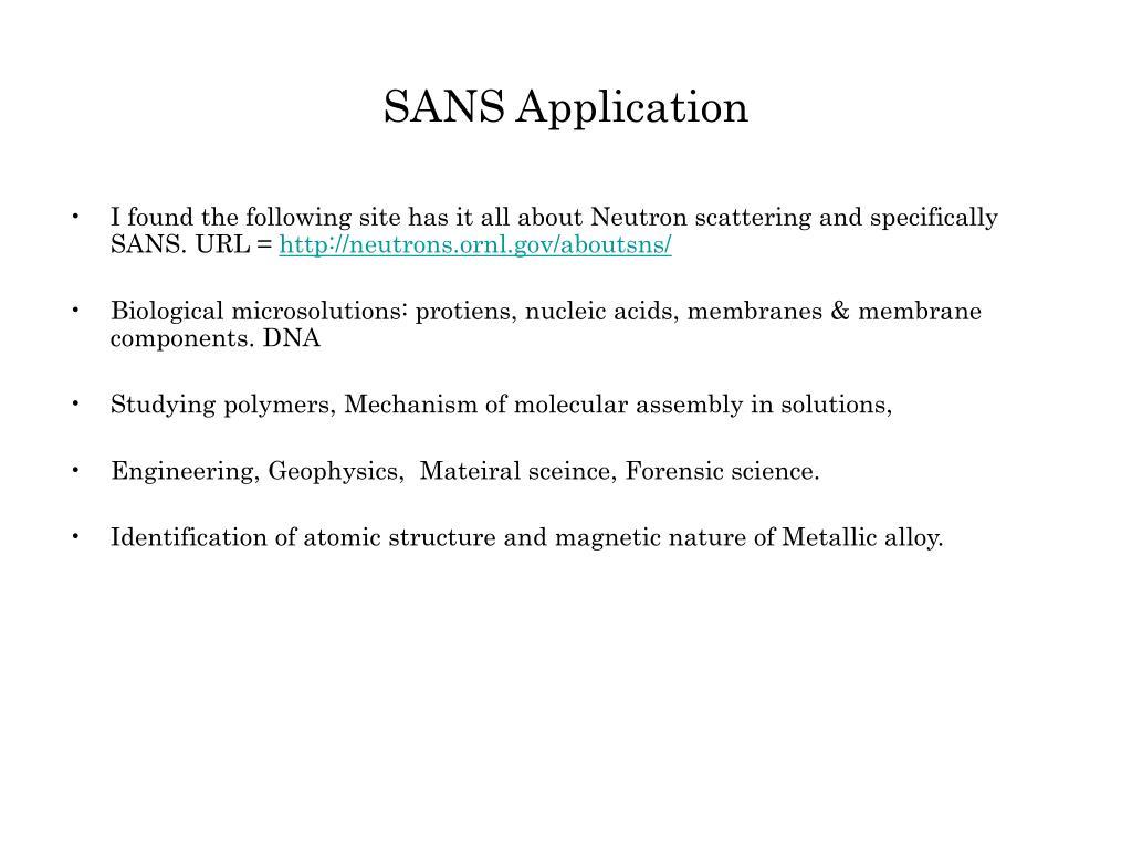 SANS Application