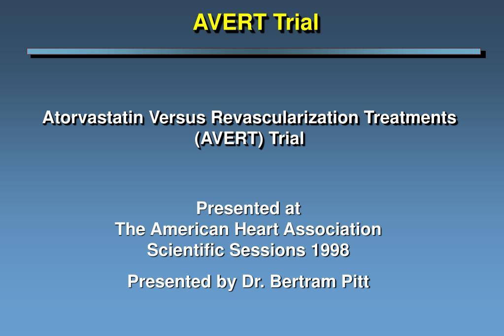 atorvastatin versus revascularization treatments avert trial