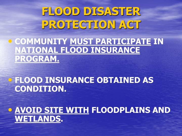 FLOOD DISASTER PROTECTION ACT