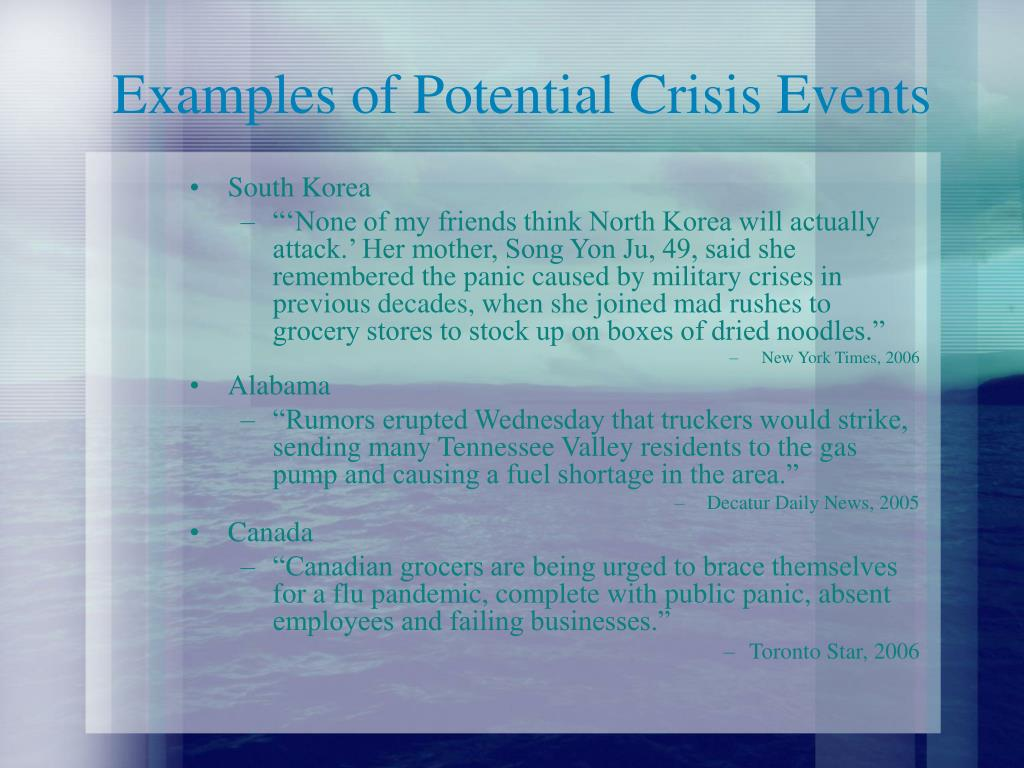 Examples of Potential Crisis Events