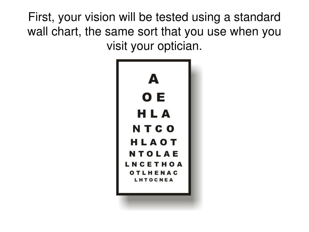 First, your vision will be tested using a standard wall chart, the same sort that you use when you visit your optician.