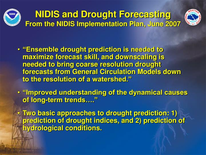 NIDIS and Drought Forecasting