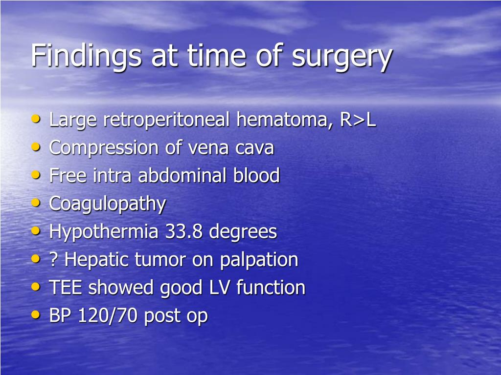 Findings at time of surgery