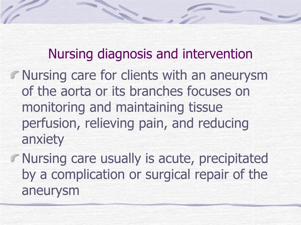 Nursing diagnosis and intervention