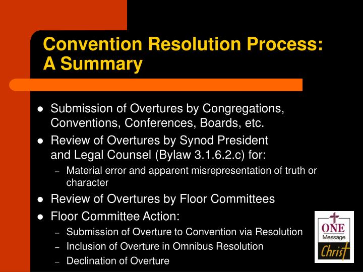Convention Resolution Process: