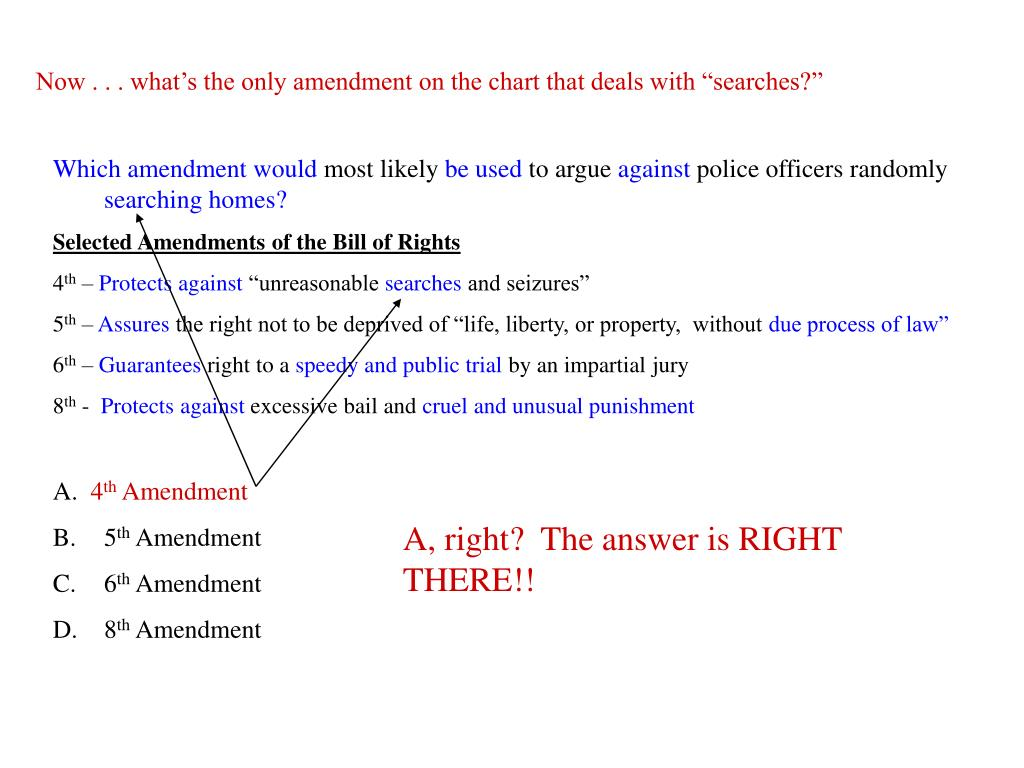 "Now . . . what's the only amendment on the chart that deals with ""searches?"""