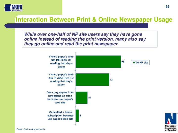 While over one-half of NP site users say they have gone online instead of reading the print version, many also say they go online and read the print newspaper.