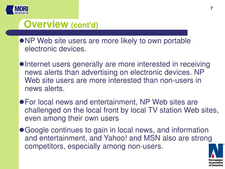 NP Web site users are more likely to own portable electronic devices.