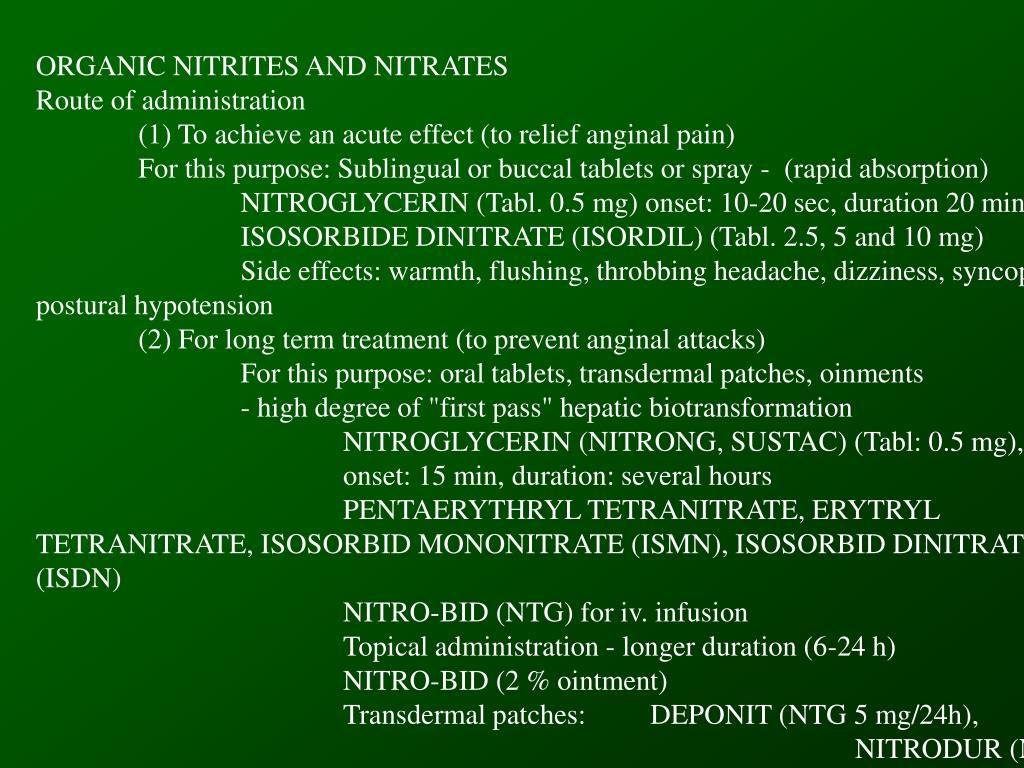 ORGANIC NITRITES AND NITRATES
