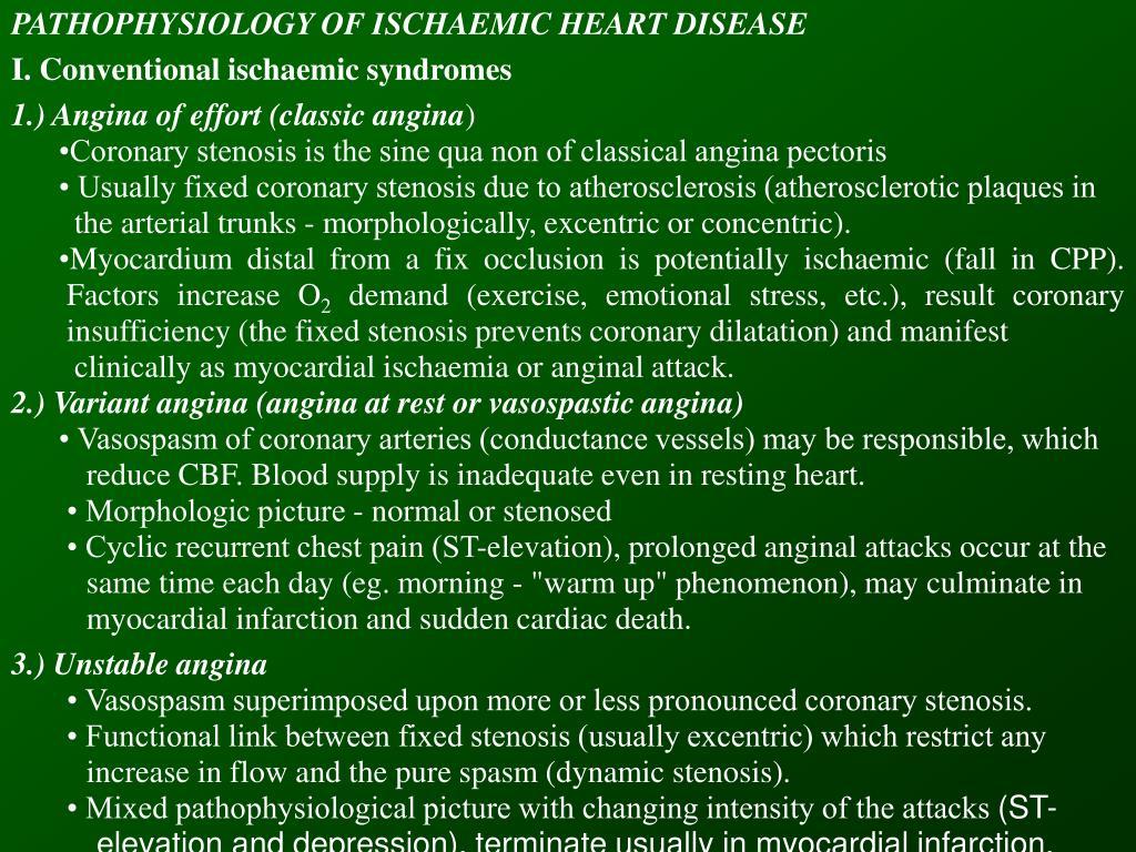 PATHOPHYSIOLOGY OF ISCHAEMIC HEART DISEASE