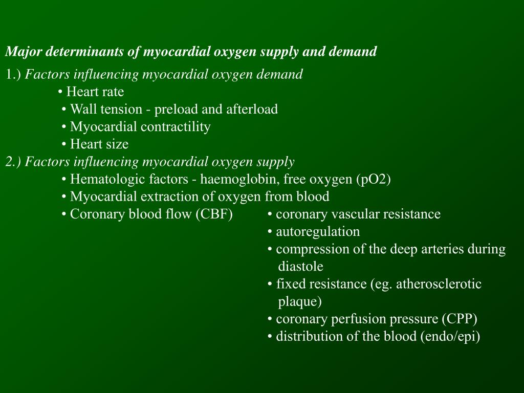 Major determinants of myocardial oxygen supply and demand