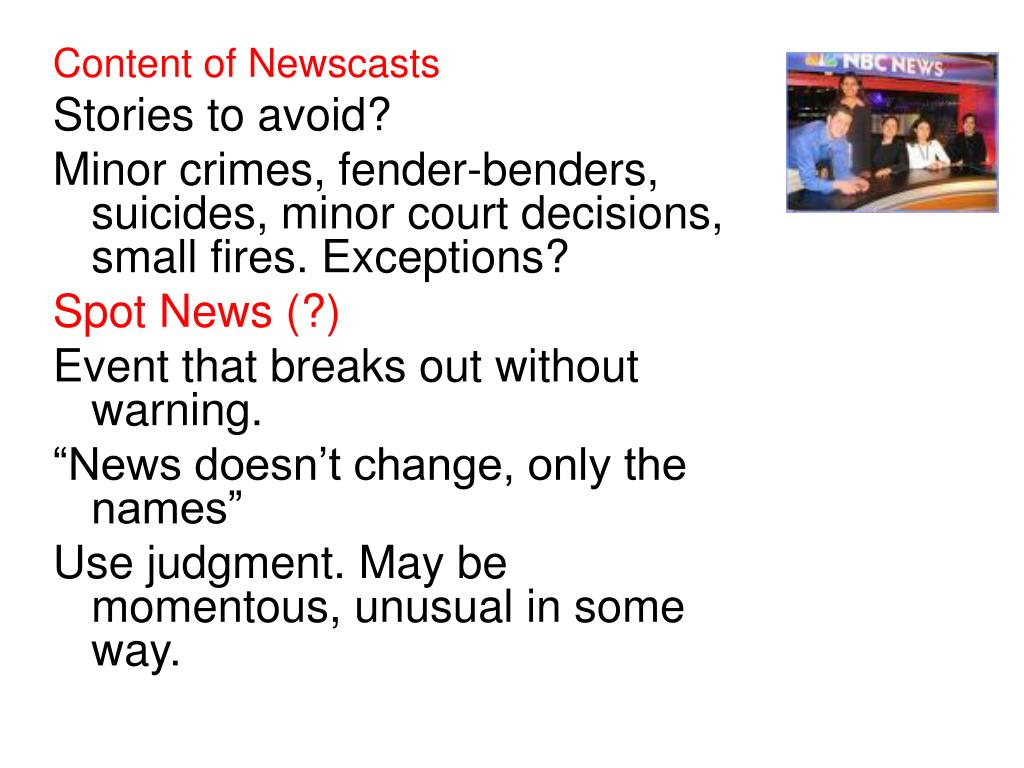 Content of Newscasts