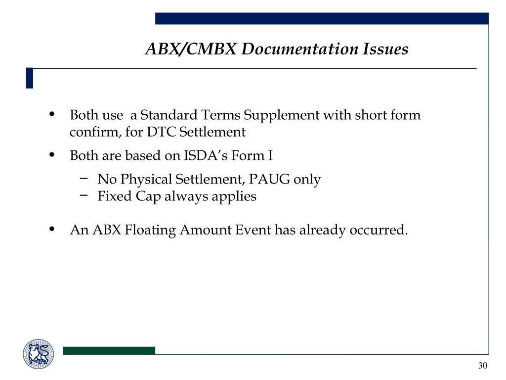 ABX/CMBX Documentation Issues