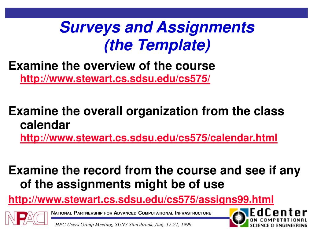 Surveys and Assignments