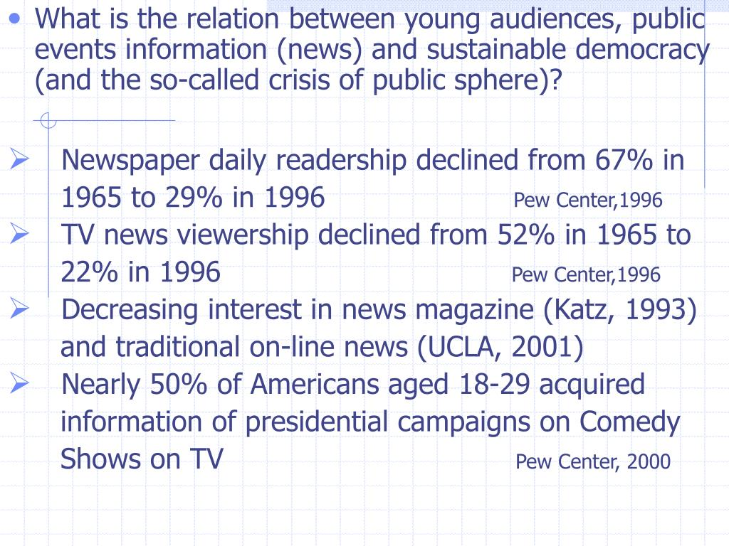 What is the relation between young audiences, public events information (news) and sustainable democracy (and the so-called crisis of public sphere)?