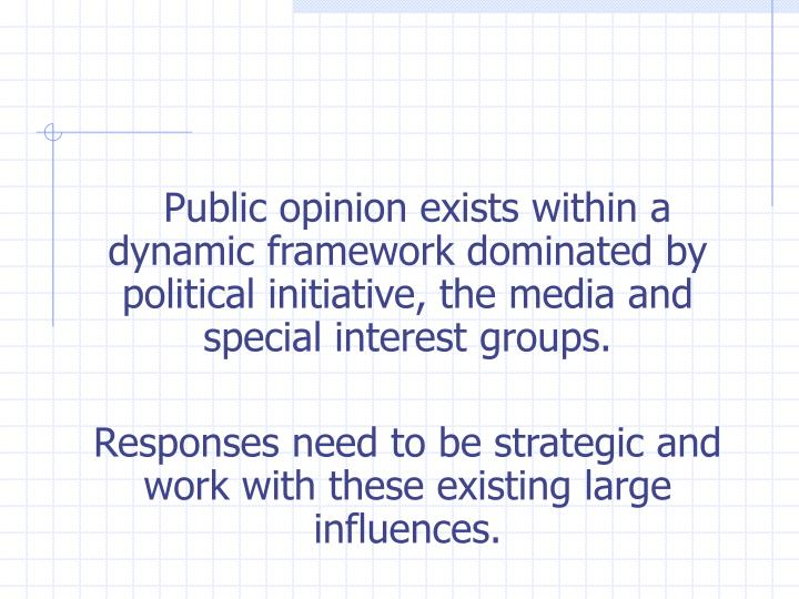 Public opinion exists within a dynamic framework dominated by political initiative, the media and sp...
