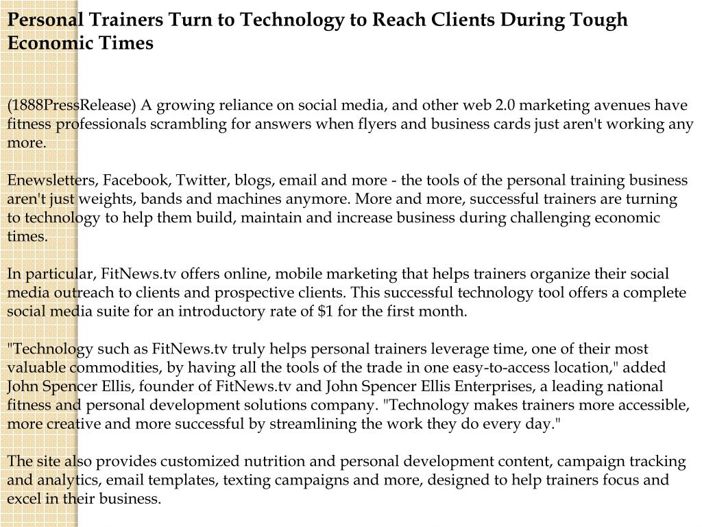 Personal Trainers Turn to Technology to Reach Clients During Tough Economic Times