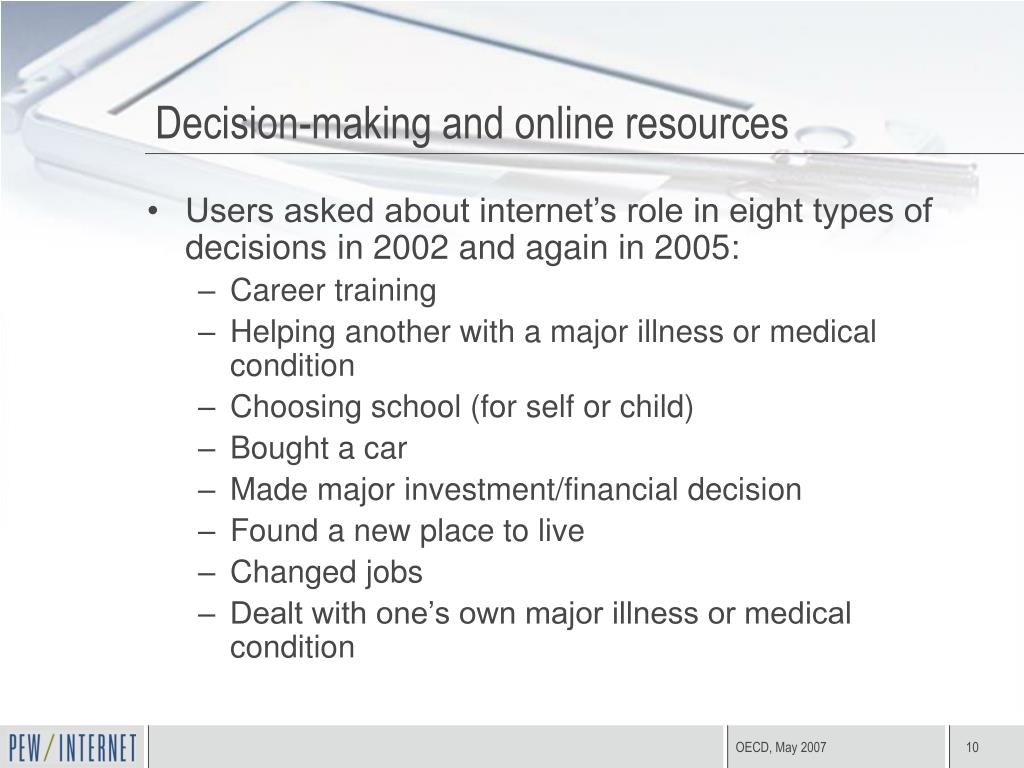 Decision-making and online resources