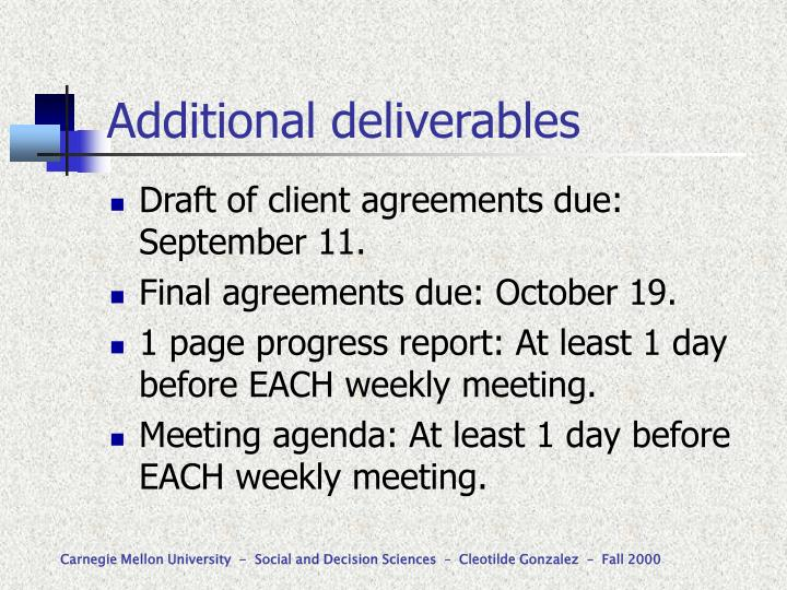 Additional deliverables