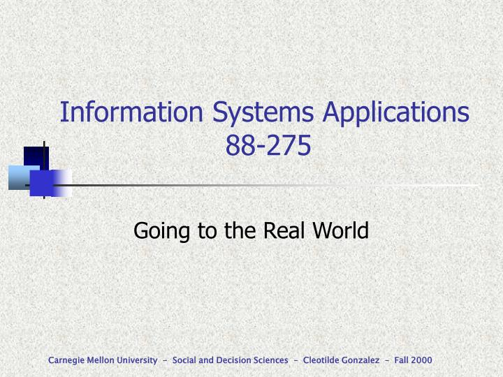 information systems applications 88 275