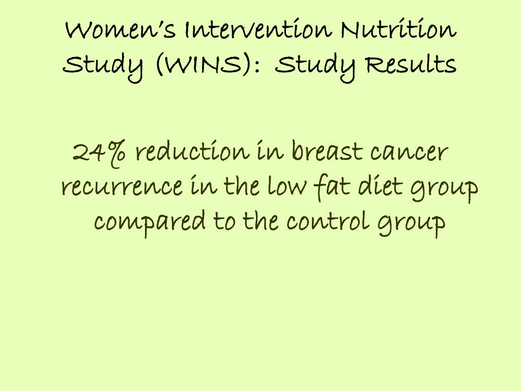 Women's Intervention Nutrition Study (WINS):  Study Results