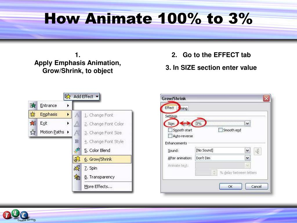 How Animate 100% to 3%
