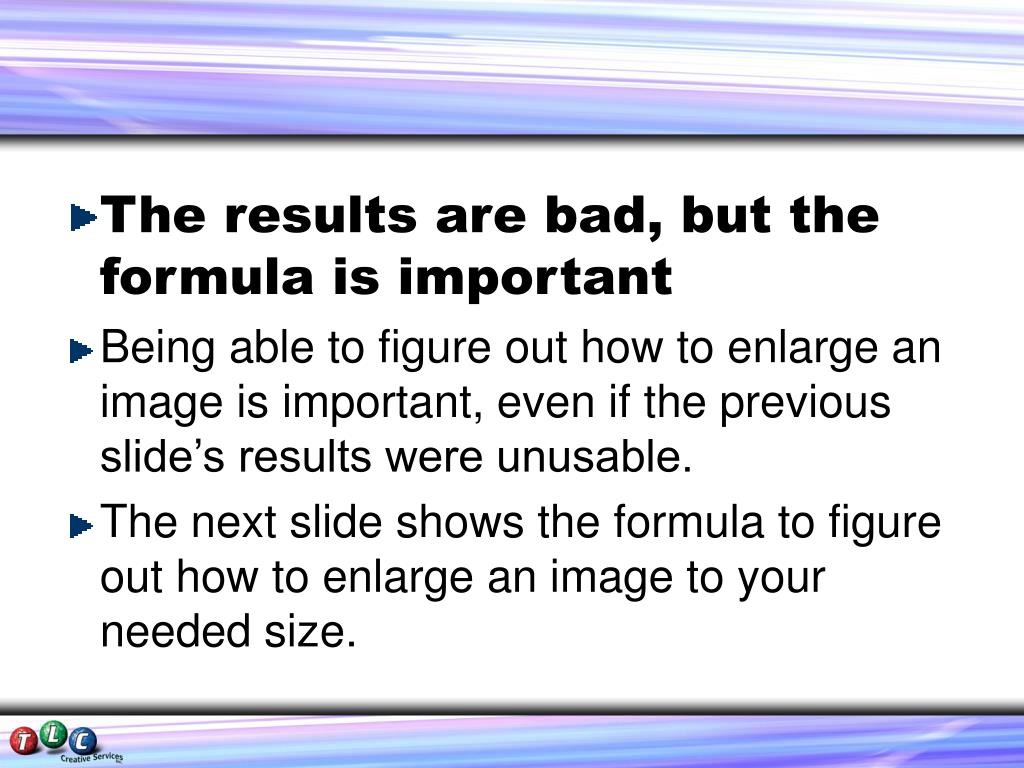 The results are bad, but the formula is important
