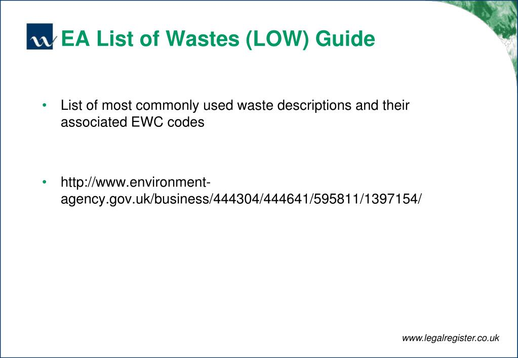 EA List of Wastes (LOW) Guide