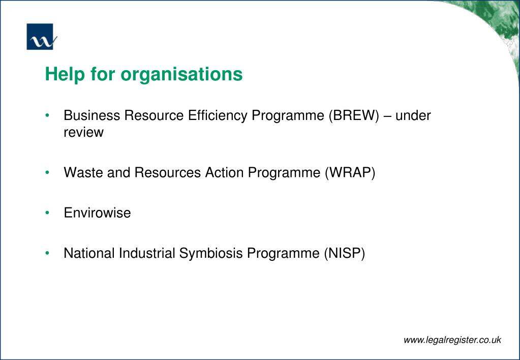 Help for organisations