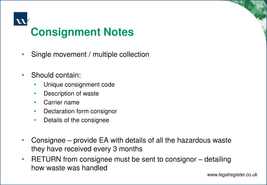 Consignment Notes