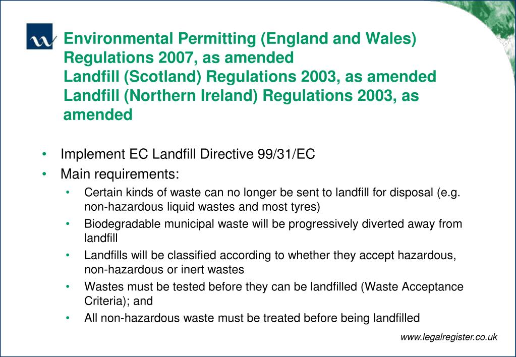 Environmental Permitting (England and Wales) Regulations 2007, as amended