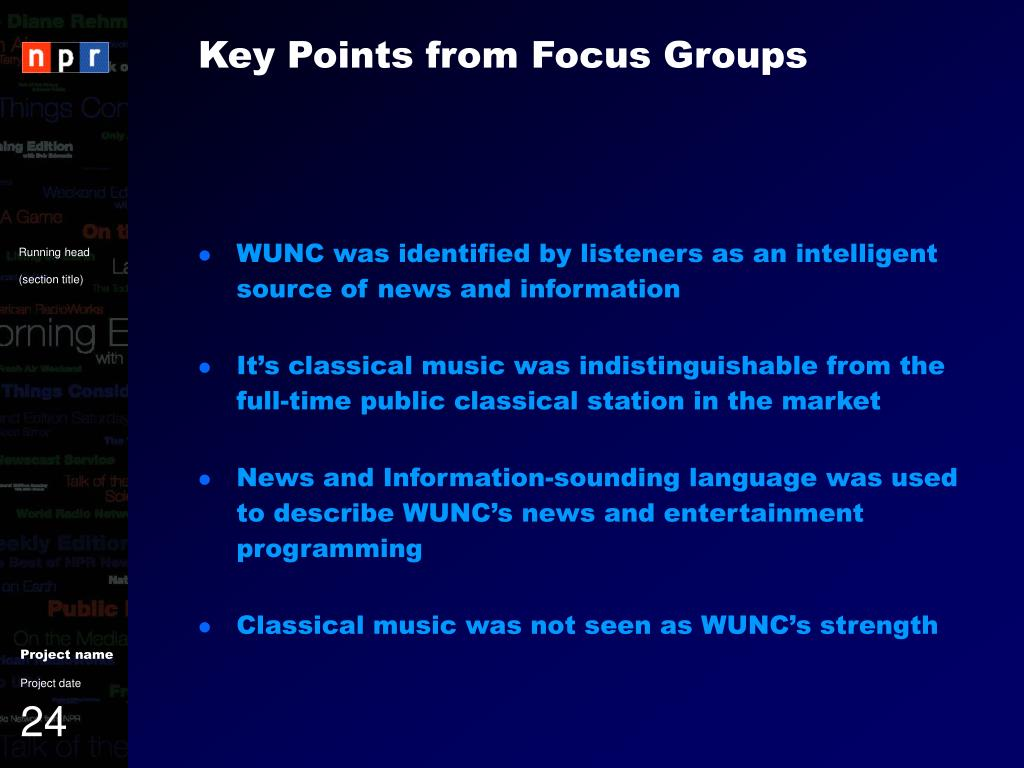 Key Points from Focus Groups