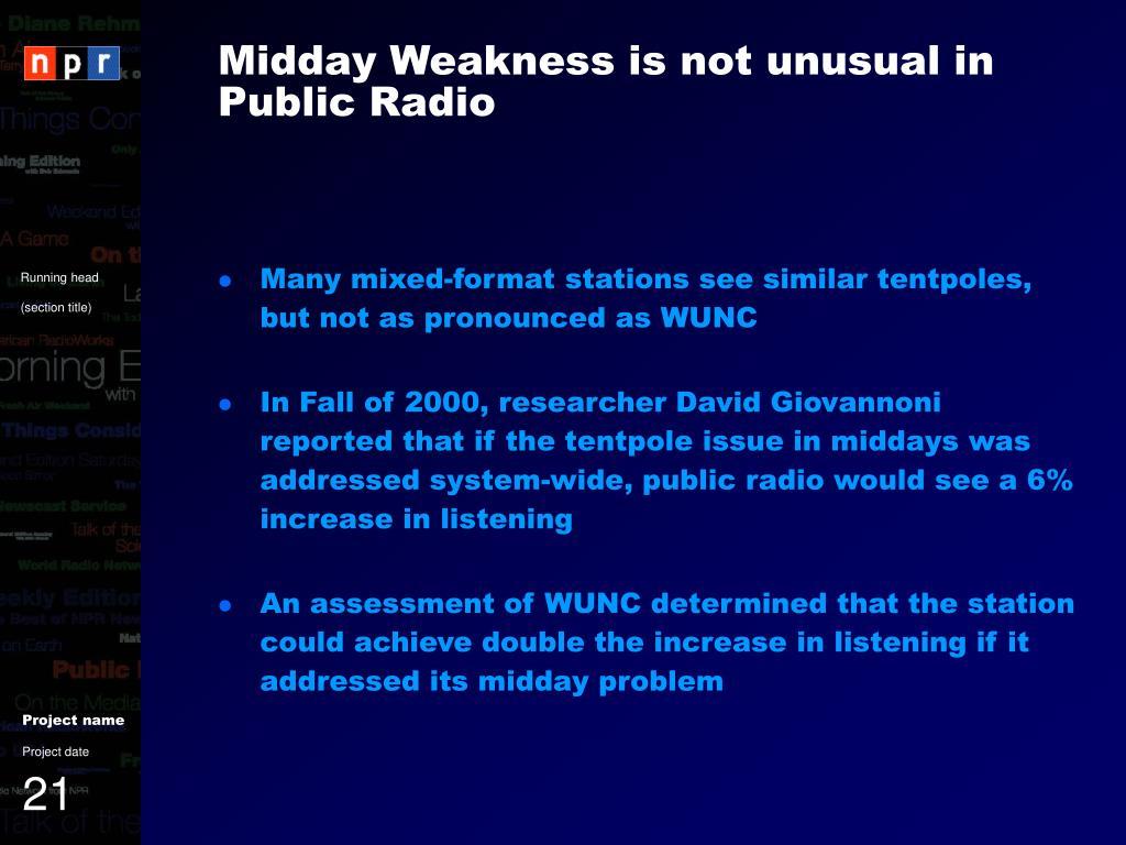 Midday Weakness is not unusual in Public Radio