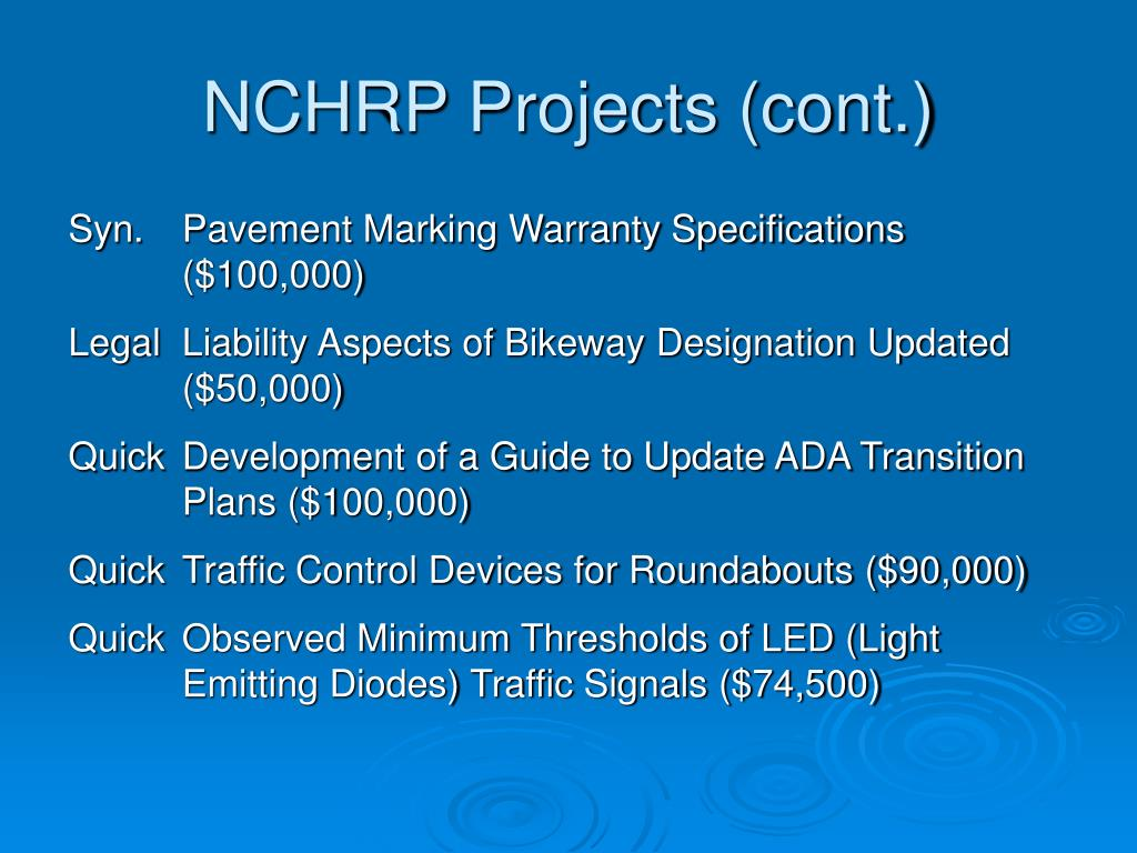 NCHRP Projects (cont.)