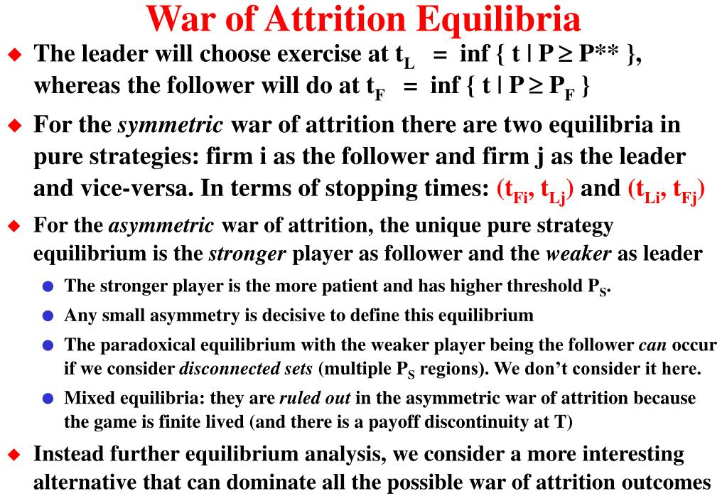 War of Attrition Equilibria