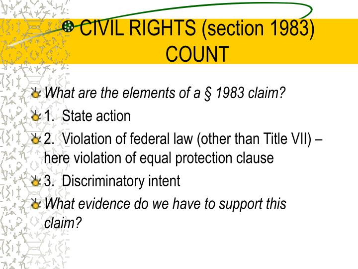 CIVIL RIGHTS (section 1983) COUNT