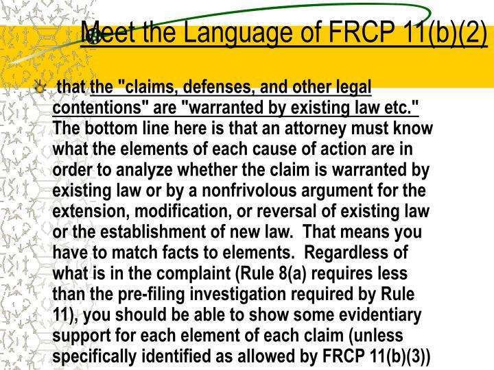 Meet the Language of FRCP 11(b)(2)