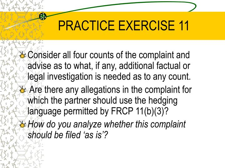 PRACTICE EXERCISE 11