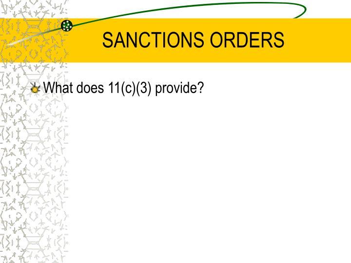 SANCTIONS ORDERS