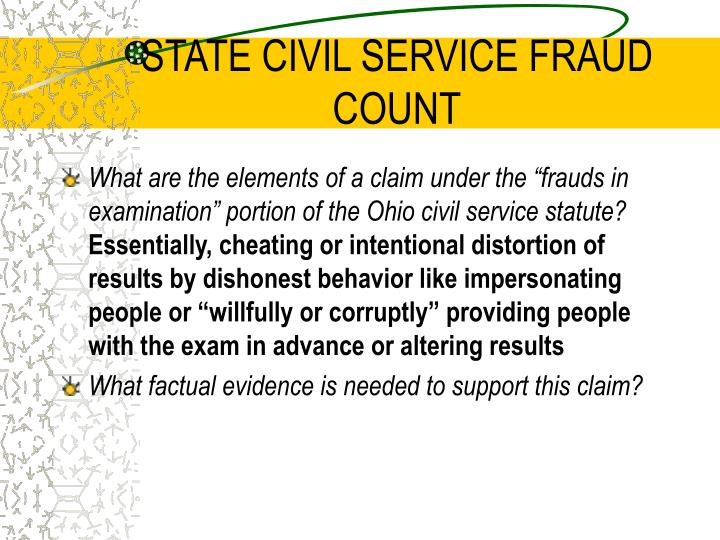STATE CIVIL SERVICE FRAUD COUNT