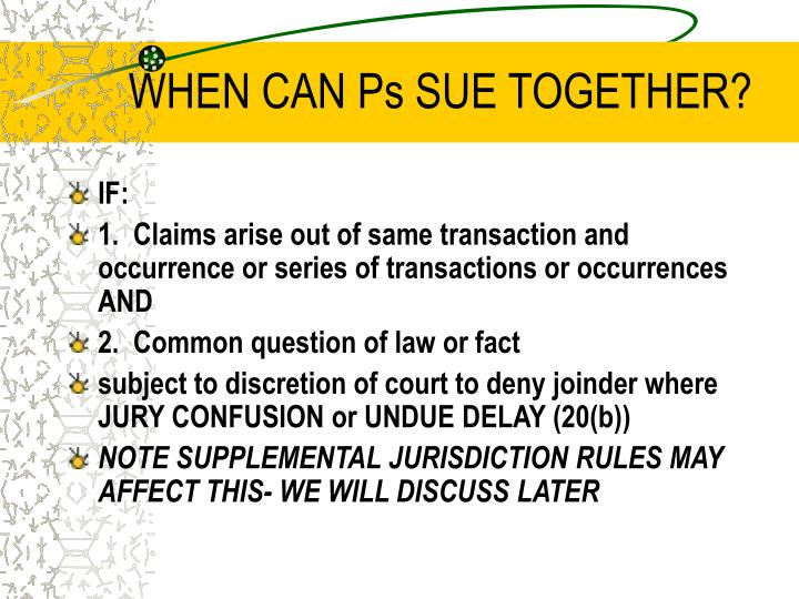 WHEN CAN Ps SUE TOGETHER?