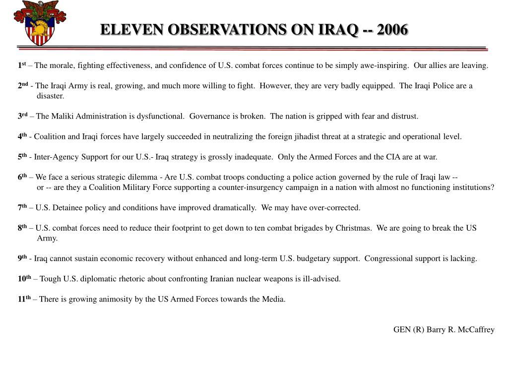 ELEVEN OBSERVATIONS ON IRAQ -- 2006