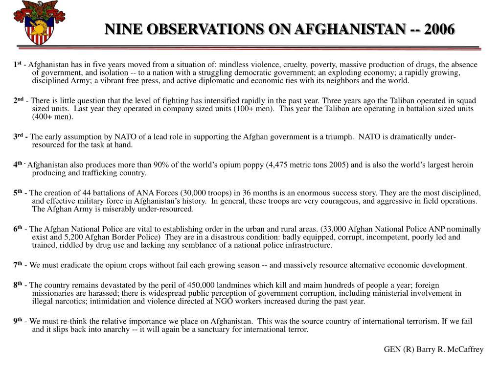 NINE OBSERVATIONS ON AFGHANISTAN -- 2006